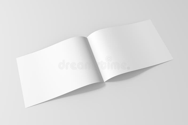De lege die spot van het brochuretijdschrift omhoog op zachte grijze achtergrond wordt geïsoleerd royalty-vrije illustratie