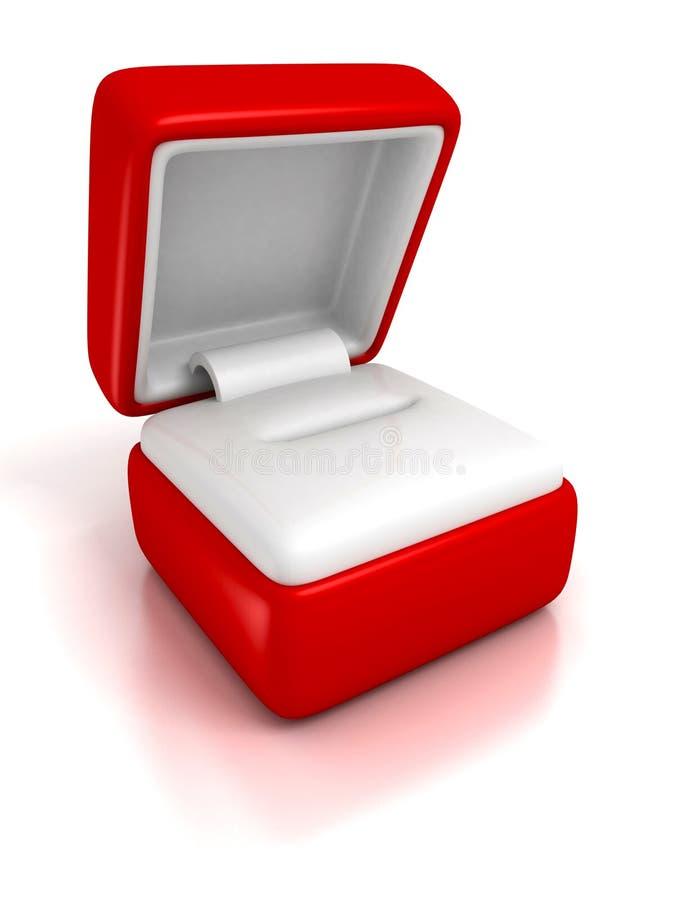 De lege doos van giftjuwelen op witte achtergrond met bezinning stock illustratie