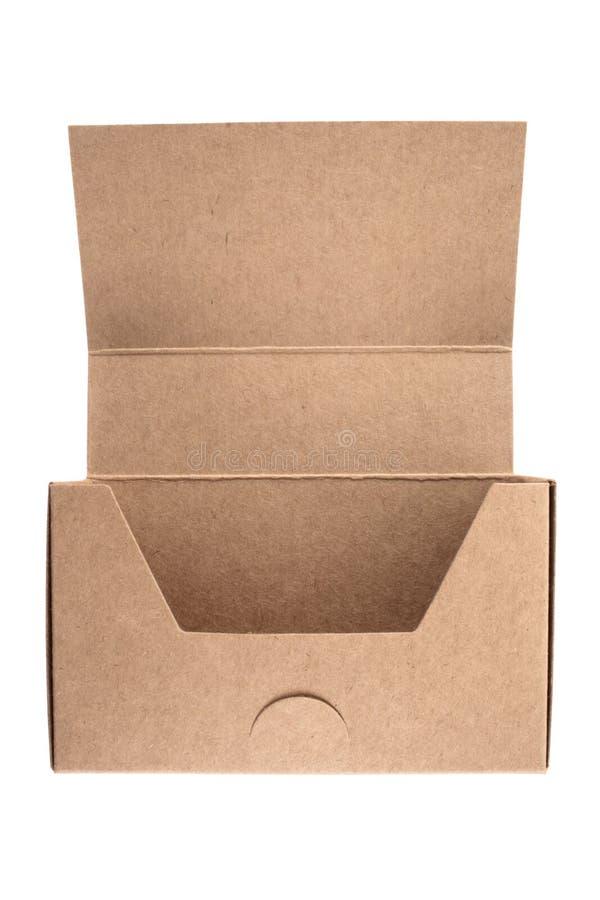 De lege doos van het adreskaartjekarton stock foto