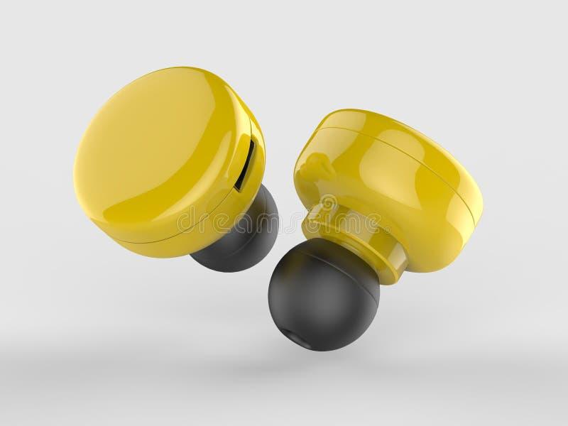 De lege Draadloze Bluetooth-3d Oortelefoon of Earbud of Hoofdtelefoon, geven illustratie terug stock illustratie