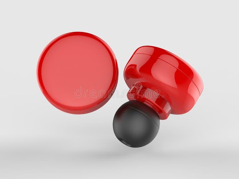 De lege Draadloze Bluetooth-3d Oortelefoon of Earbud of Hoofdtelefoon, geven illustratie terug vector illustratie