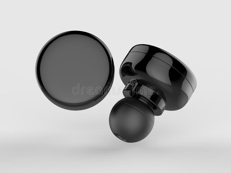 De lege Draadloze Bluetooth-3d Oortelefoon of Earbud of Hoofdtelefoon, geven illustratie terug royalty-vrije illustratie