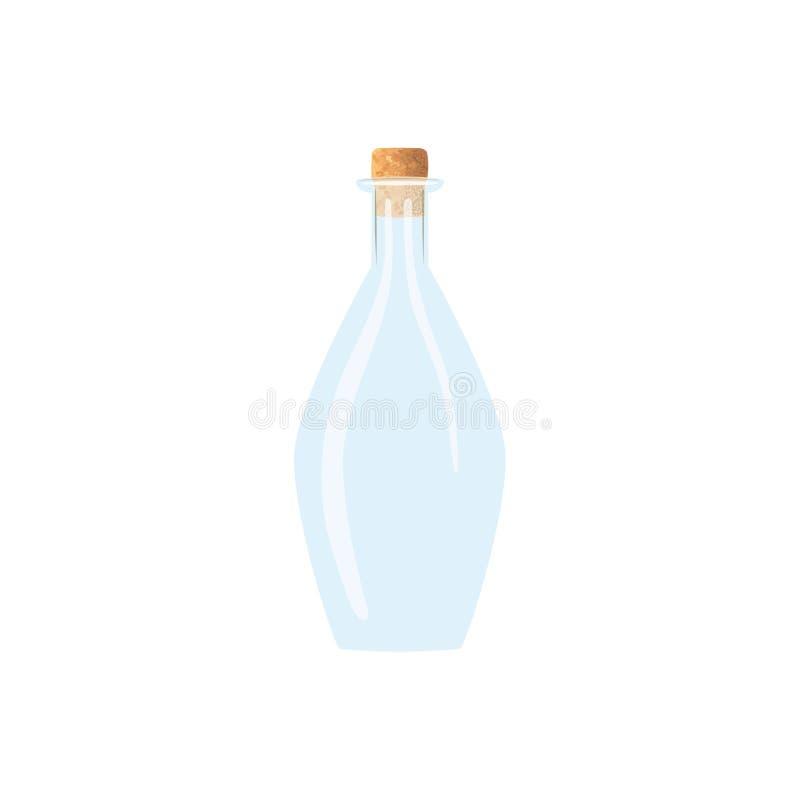 De lege fles van de glaswijn met cork tranparent ijzig-witte karaf op witte achtergrond Fles voor sap, wijn, bier, geesten vector illustratie