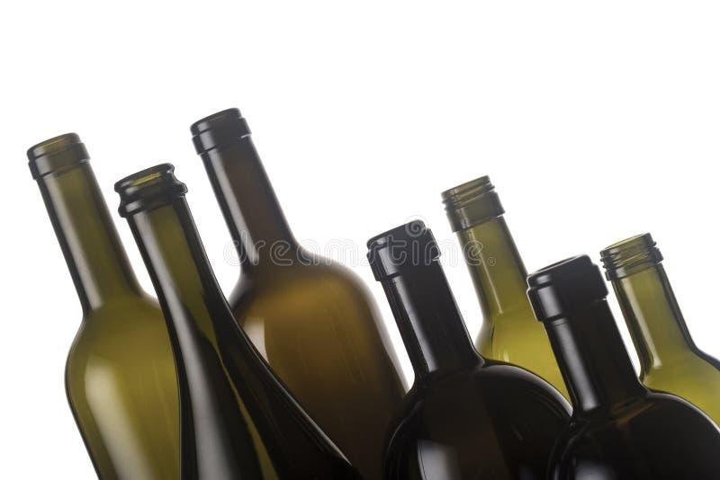 De lege Flessen van de Wijn stock foto