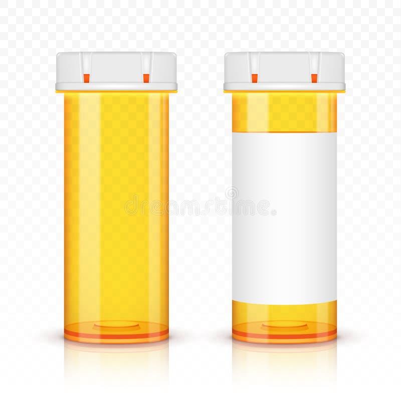 De lege flessen van de voorschriftgeneeskunde op transparante achtergrond vector illustratie