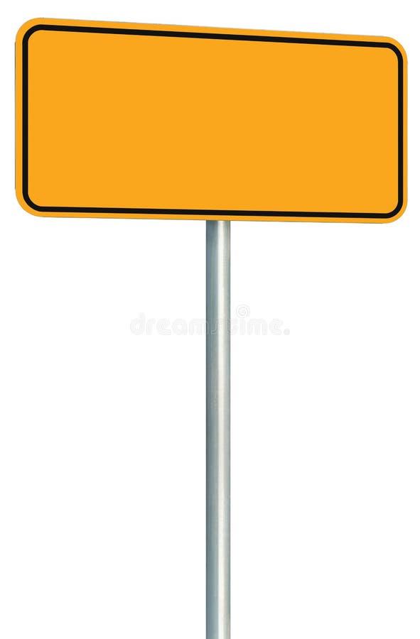 De lege Gele Geïsoleerde Verkeersteken, de Grote Kant van de weg van het het Exemplaar Ruimte, Zwarte Kader van de Perspectiefwaa stock foto