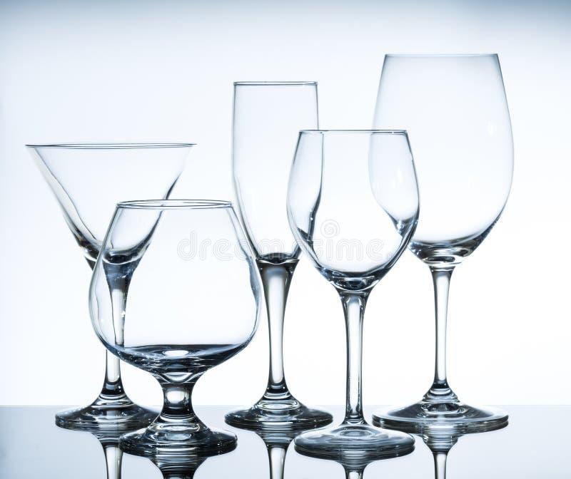 De lege Glazen van de Wijn royalty-vrije stock foto's