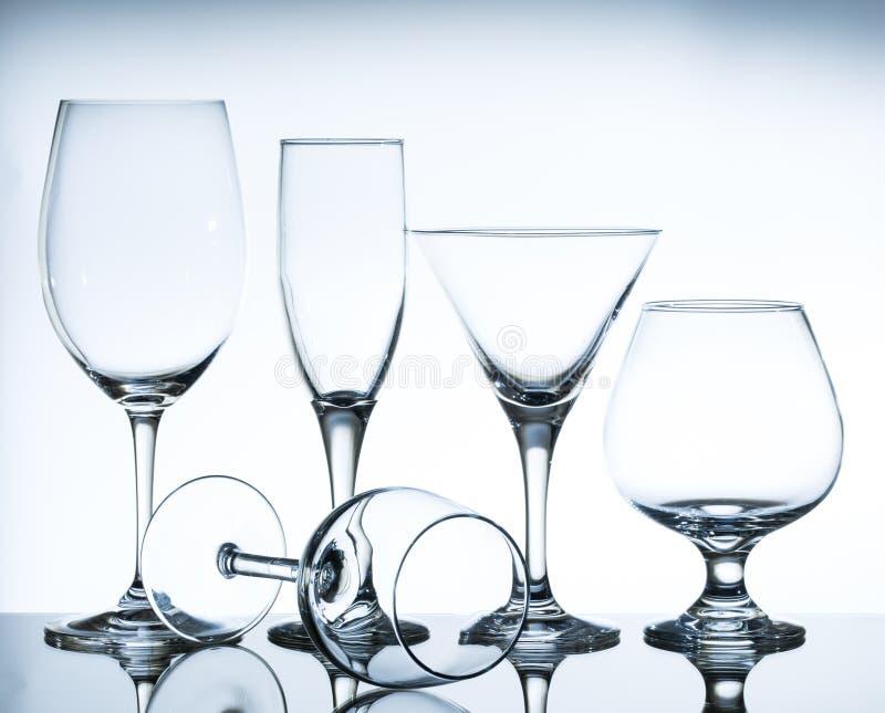 De lege Glazen van de Wijn royalty-vrije stock afbeelding