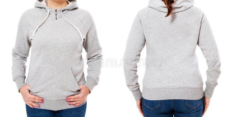 De lege grijze sweatshirtspot zette geïsoleerde, voor en achtermening op Grijs hoodiemodel van de vrouwenslijtage Duidelijke hood royalty-vrije stock foto