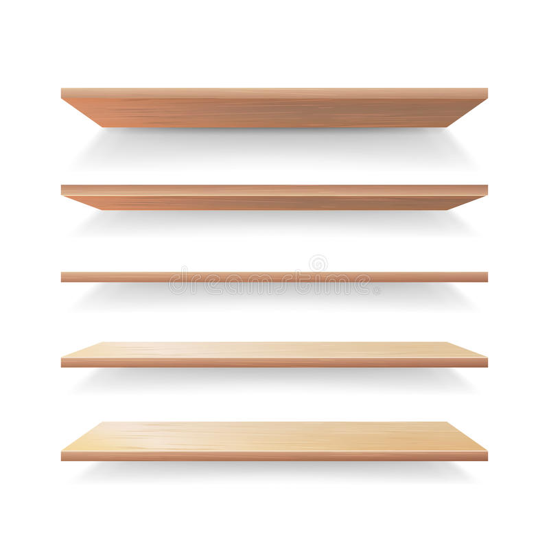 De lege Houten Vectorreeks van het Plankenmalplaatje Realistische 3D Detailhandel Houten Planken Geplaatst geïsoleerd royalty-vrije illustratie