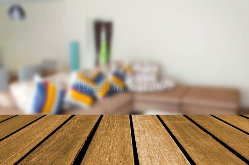 De lege houten woonkamer van het plankenonduidelijke beeld stock afbeelding