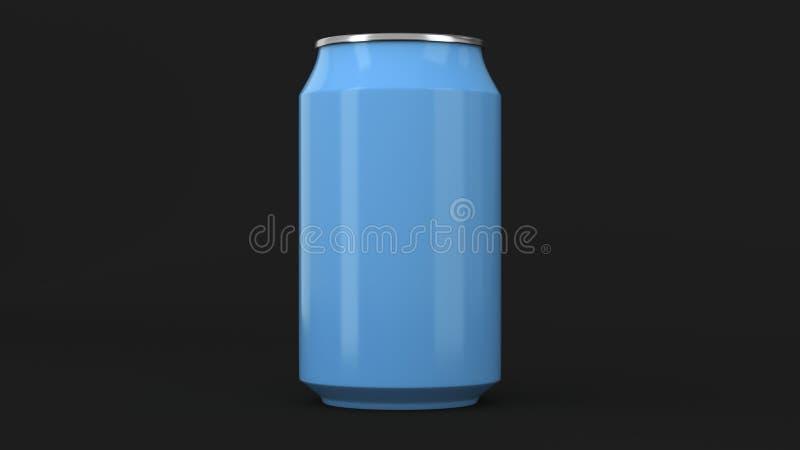 De lege kleine blauwe aluminiumsoda kan model op zwarte achtergrond royalty-vrije illustratie