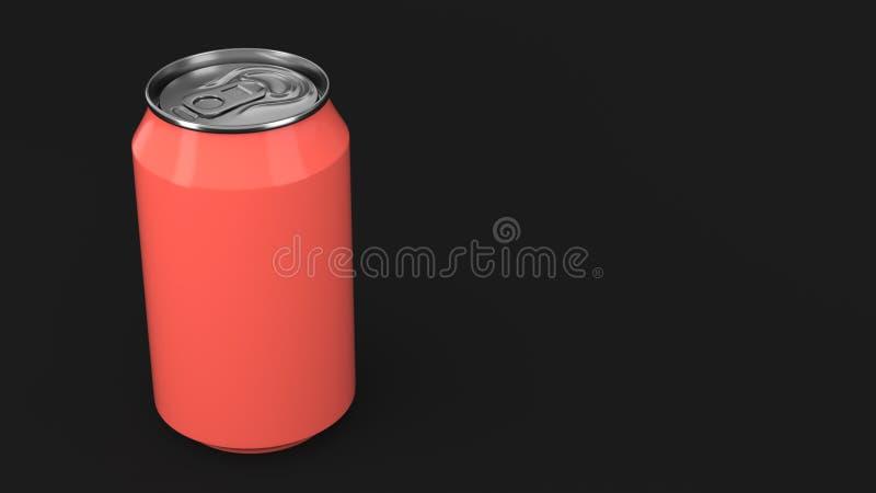 De lege kleine rode aluminiumsoda kan model op zwarte achtergrond stock illustratie
