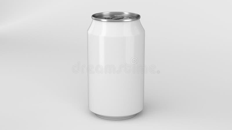 De lege kleine witte aluminiumsoda kan model op witte achtergrond stock illustratie
