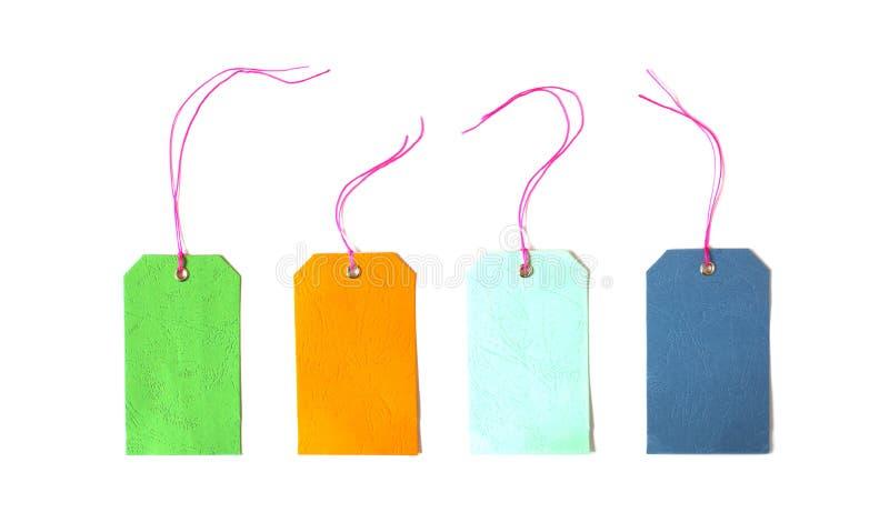 De lege kleurrijke die markering wordt gebonden voor hangt op product voor toont prijs of korting stock fotografie