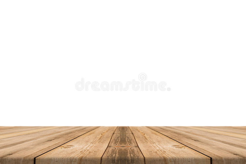 De lege lichte houten lijstbovenkant isoleert op witte achtergrond royalty-vrije stock afbeelding