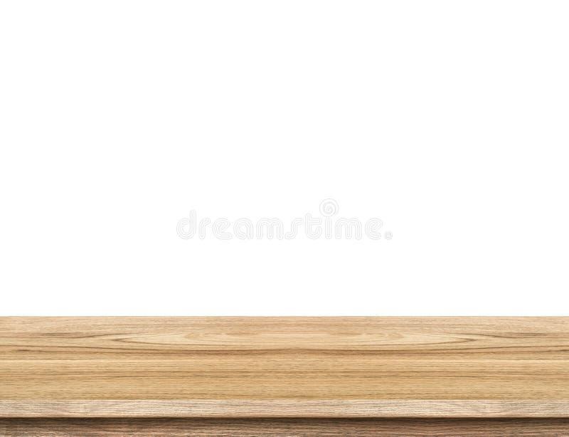 De lege lichte houten lijstbovenkant isoleert op witte achtergrond, verlaat SP royalty-vrije stock foto