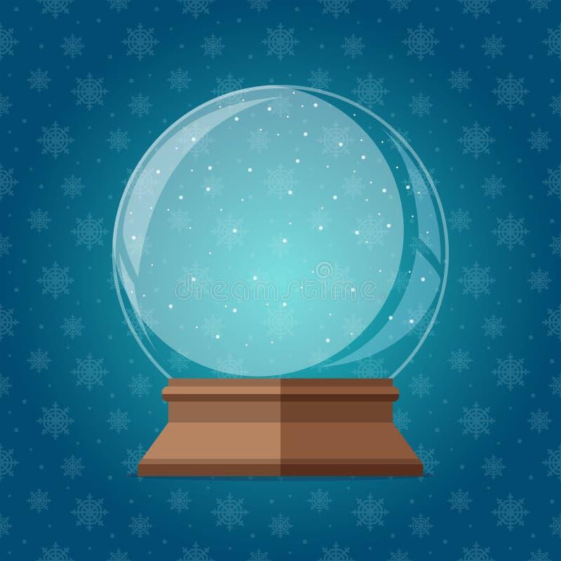 De lege magische vectorillustratie van de sneeuwbol Kerstmis snowglobe gift vector illustratie