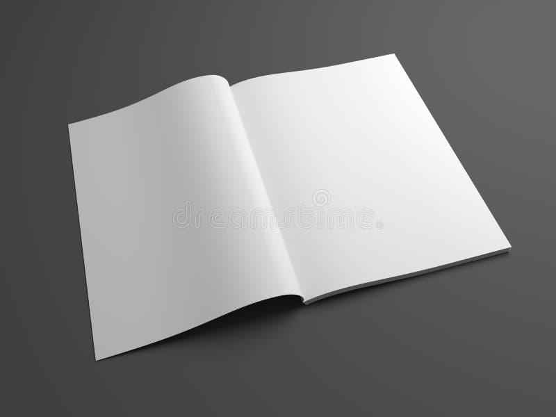 De lege open 3D spot van het illustratietijdschrift omhoog met twee pagina's royalty-vrije illustratie