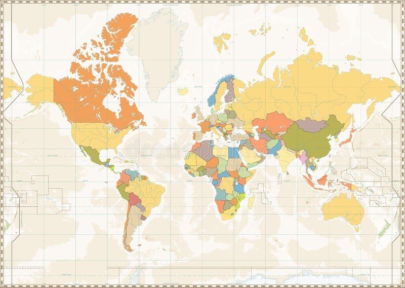 De lege retro kleur van de Wereldkaart met meren en rivieren royalty-vrije illustratie