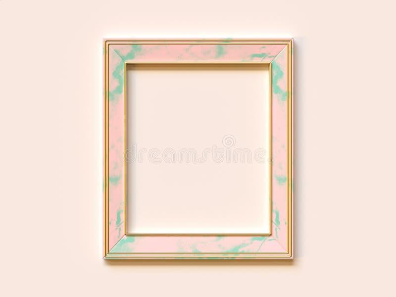 De lege roze groene abstracte minimale geometrische de vormvlakte van het textuurkader legt zacht 3d roze/room teruggeeft royalty-vrije illustratie