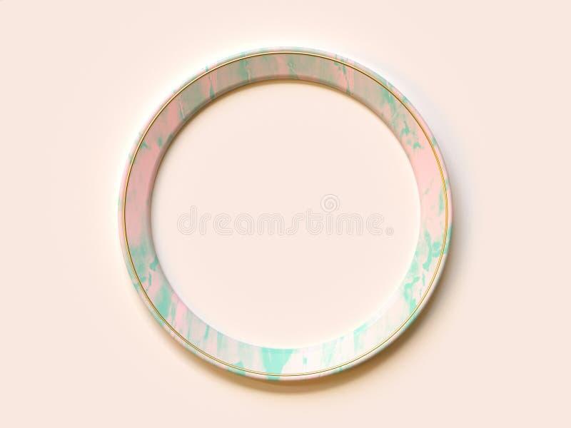De lege roze groene abstracte minimale geometrische de vormvlakte van het textuurkader legt zacht 3d roze/room teruggeeft vector illustratie