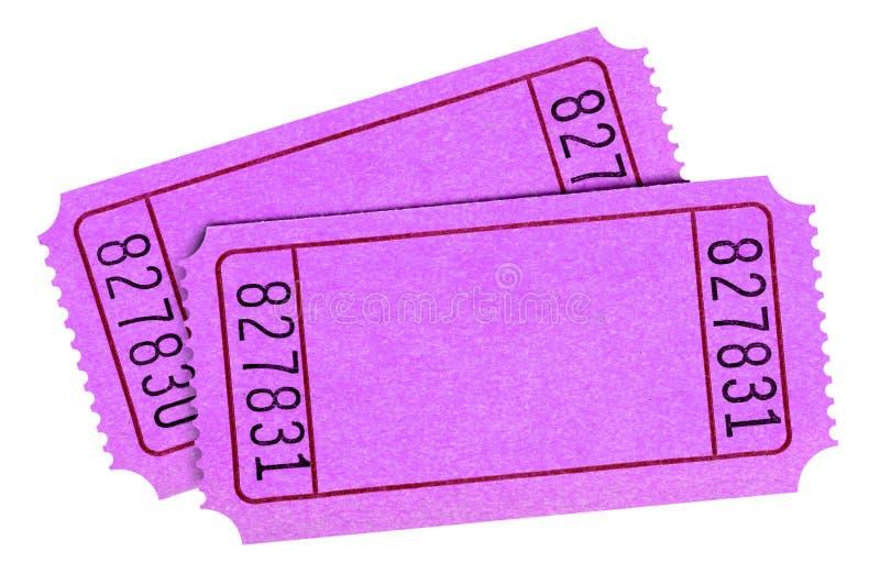 De lege roze loterijkaartjes isoleerden witte achtergrond twee stock foto's