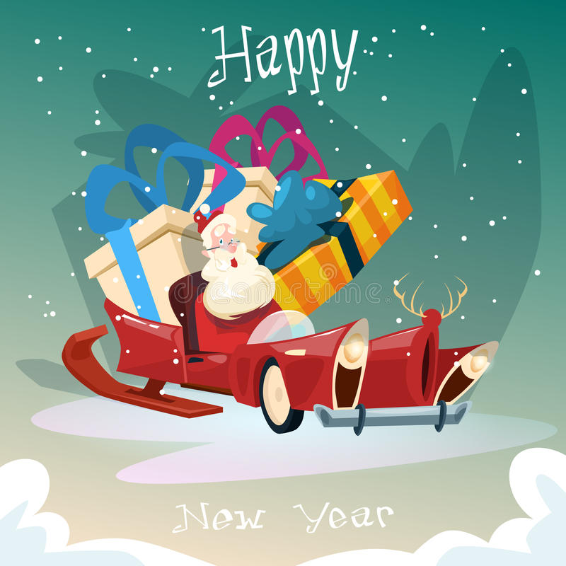 De lege Santa Claus Sleigh With Present Box-Kaart van de het Nieuwjaargroet van de Kerstmisviering royalty-vrije illustratie