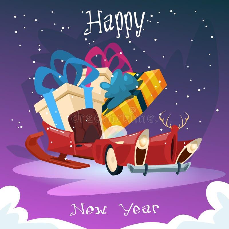 De lege Santa Claus Sleigh With Present Box-Kaart van de het Nieuwjaargroet van de Kerstmisviering vector illustratie