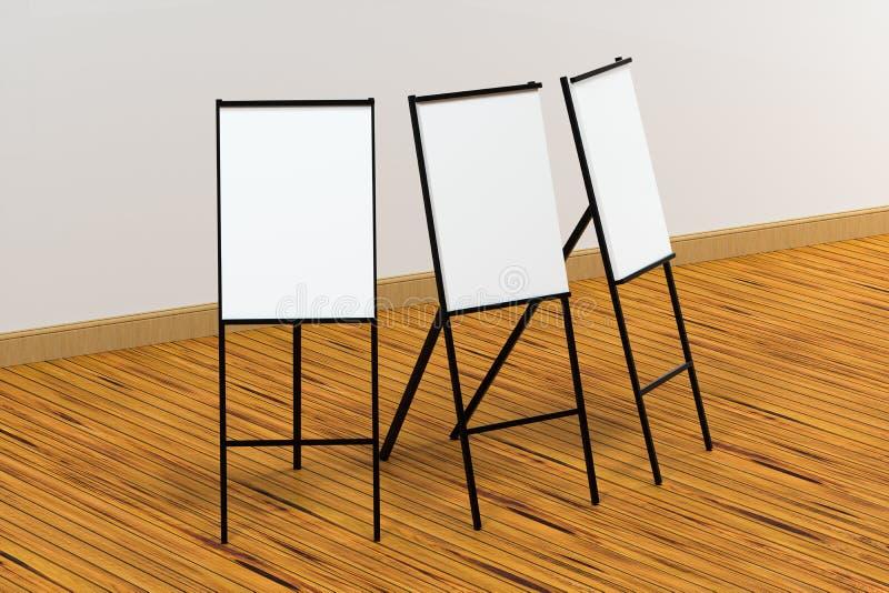 De lege schildersezelraad met houten vloerachtergrond, het 3d teruggeven royalty-vrije illustratie
