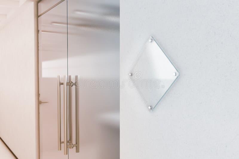 De lege spot van de het tekenplaat van het ruit transparante glas omhoog stock illustratie
