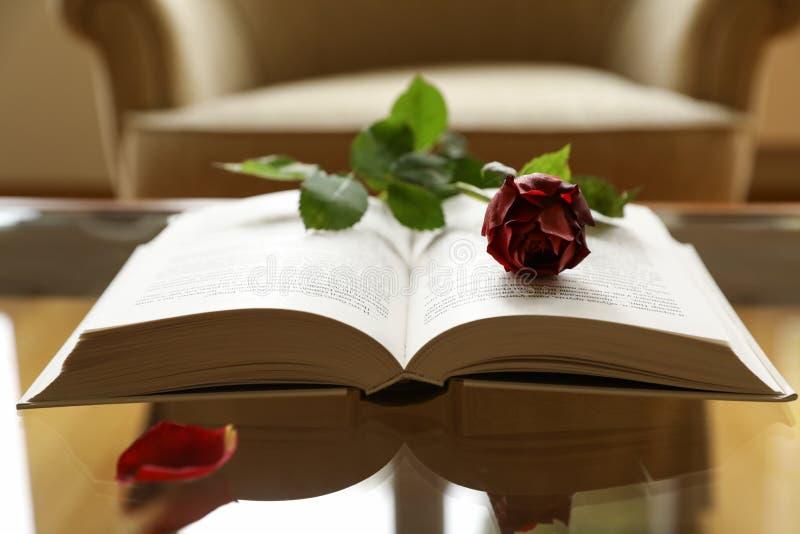 De lege stoel, open donkerrood boek, nam bloem, bloemblaadje, het concept van het Romaanse of liefdeverhaal toe stock foto