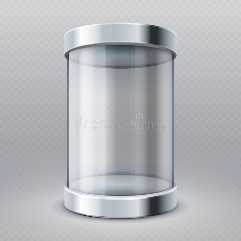 De lege transparante 3d showcase geïsoleerde vectorillustratie van de glascilinder stock illustratie