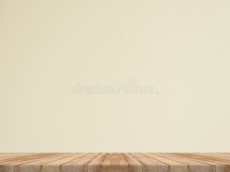 De lege tropische houten lijstbovenkant met witte steenmuur, bespot omhoog terug royalty-vrije stock fotografie