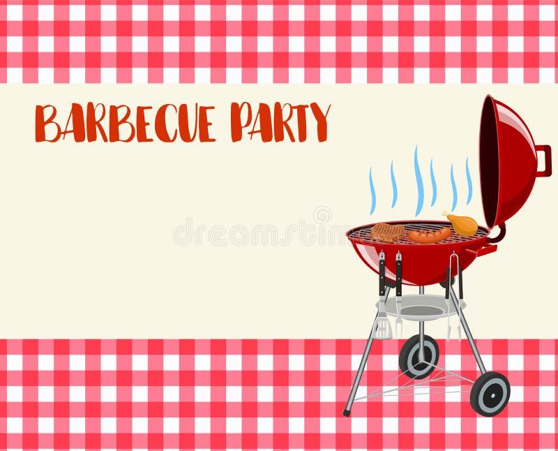 De lege uitnodiging van de barbecuepartij vector illustratie