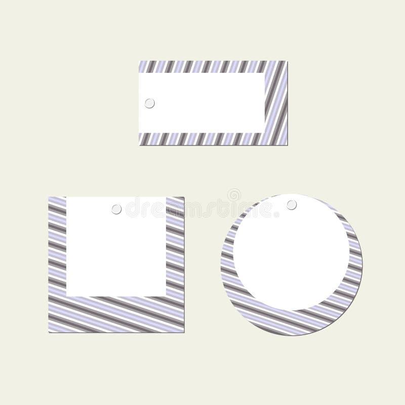 De lege Vastgestelde Rechthoekige ronde vierkante banner van de prijskaartjelay-out van strepenlijnen op een wit achtergrond Mode stock illustratie
