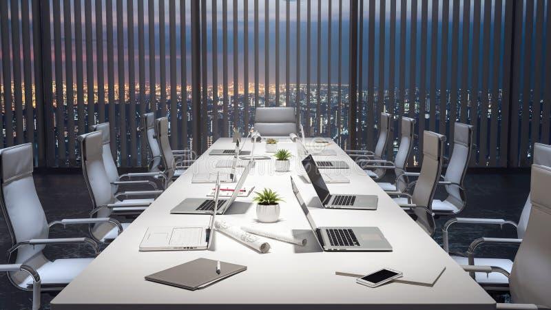 De lege vergaderzaal en conferentielijst met laptops, modern 3d bureau geeft terug royalty-vrije stock foto