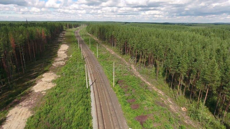 De lege weg van het twee lijnen elektrische spoor in altijdgroen hout van Karelië, Rusland Lucht Mening royalty-vrije stock foto