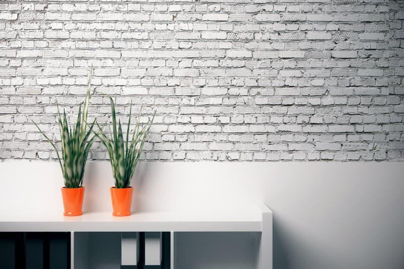 De lege witte muur van het baksteenbureau vector illustratie