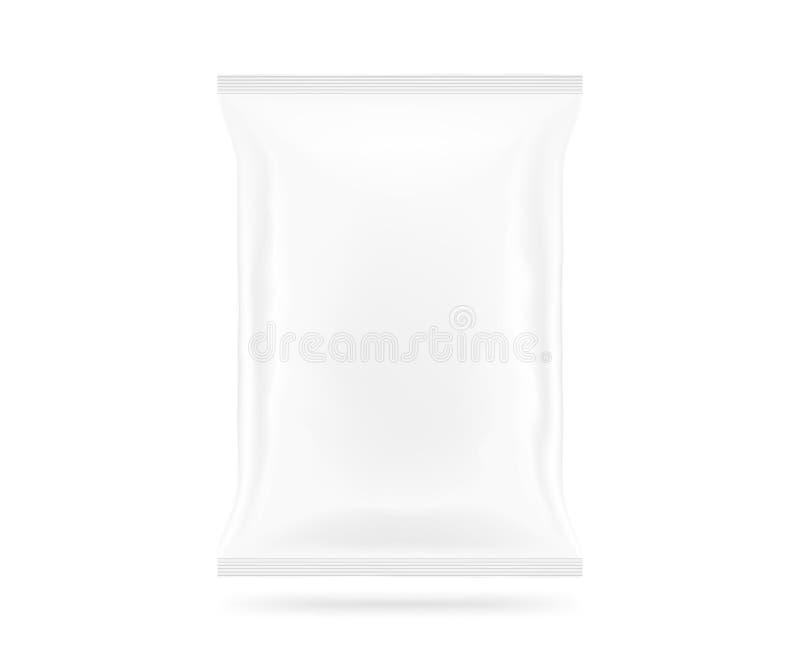 De lege witte omhoog geïsoleerde spot van de snackzak Duidelijk spaanderspak stock afbeeldingen