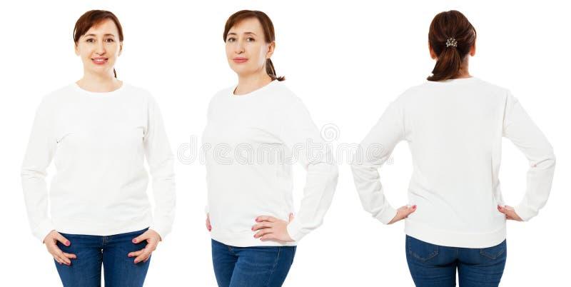 De lege witte sweatshirtspot zette geïsoleerd, voor, achter en zijaanzicht op Wit de truimodel op middelbare leeftijd van de vrou stock foto's