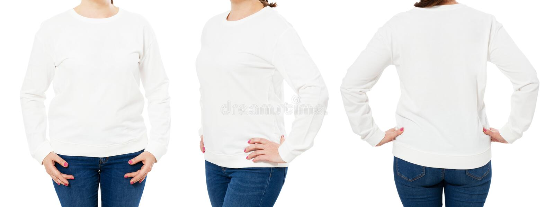 De lege witte sweatshirtspot zette geïsoleerd, voor, achter en zijaanzicht op Wit de truimodel van de vrouwenslijtage Duidelijk h royalty-vrije stock foto