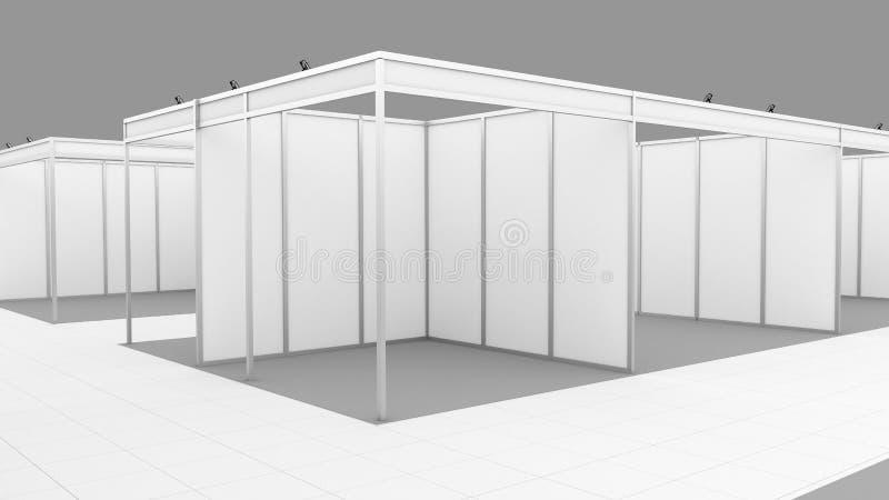 De lege witte tribune van het de cabinesysteem van de handelstentoonstelling Model stock afbeelding