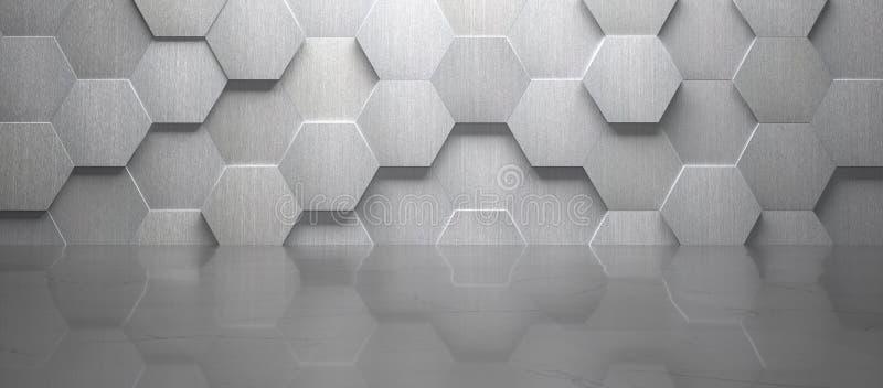 De lege Zaal met Betegelde Muur en de Marmeren 3d Vloer geven terug stock illustratie