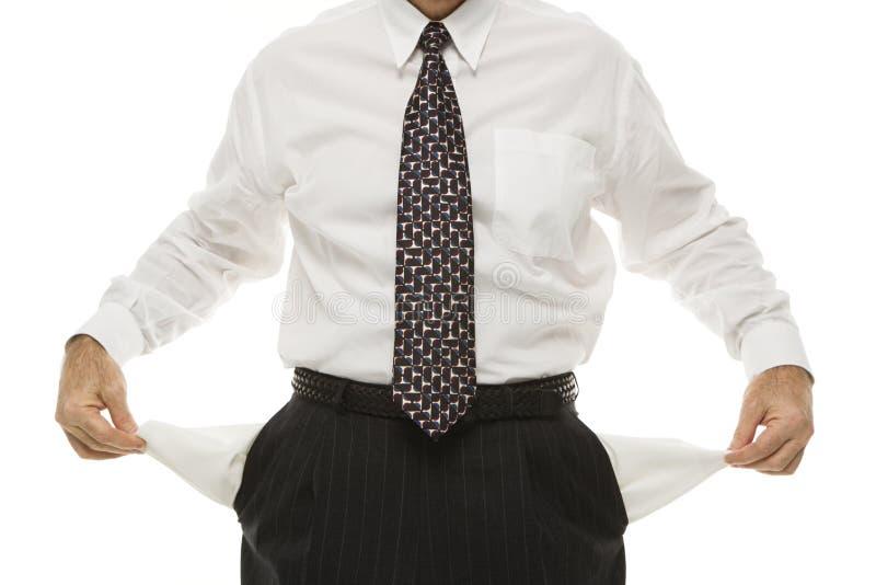 De lege zakken van de zakenman royalty-vrije stock fotografie