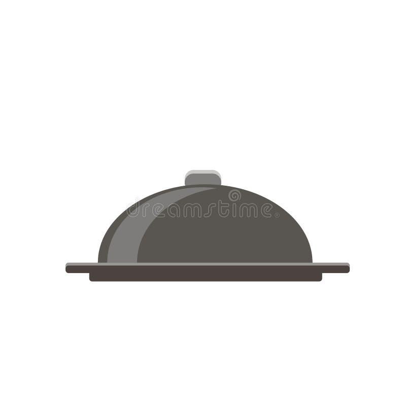 De lege zilveren vectorillustratie van de dienbladschotel, concept voedsellevering, presenteerblad, het materiaal van de klantend stock illustratie