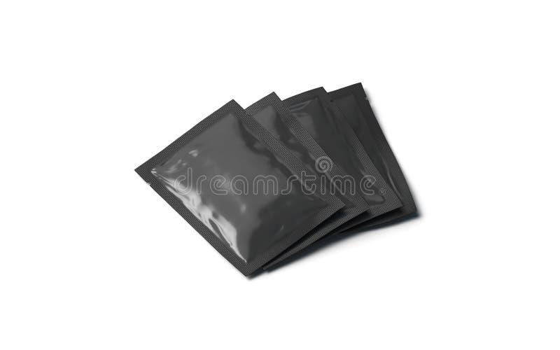 De lege zwarte geplaatste sachetpakketten bespotten omhoog, geïsoleerd, zijaanzicht, stock illustratie