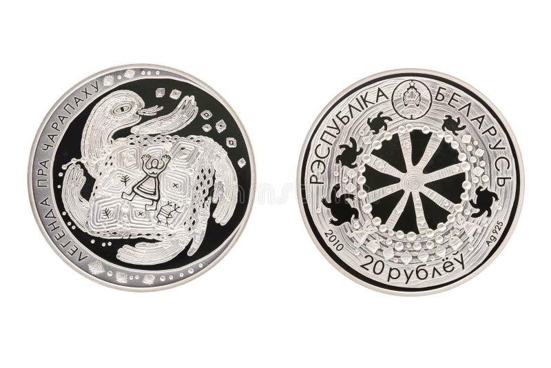 De Legende van het schildpad Witrussische zilveren muntstuk royalty-vrije stock afbeelding