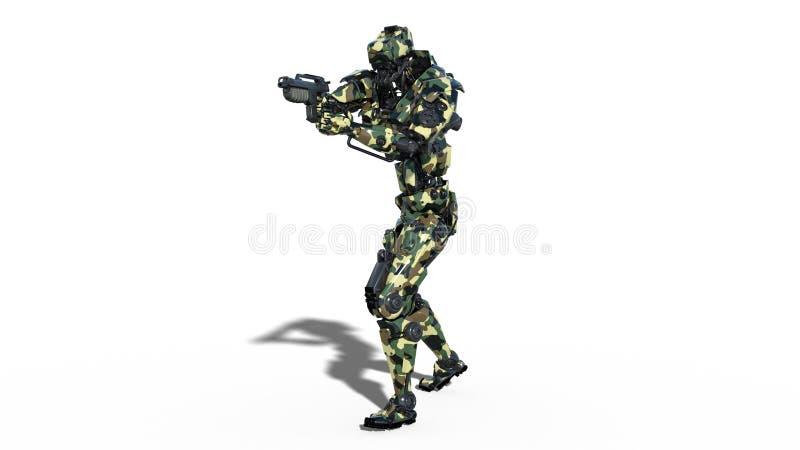 De legerrobot, strijdkrachten cyborg, militaire androïde militair die kanon op witte achtergrond, 3D vooraanzicht schieten, geeft royalty-vrije illustratie