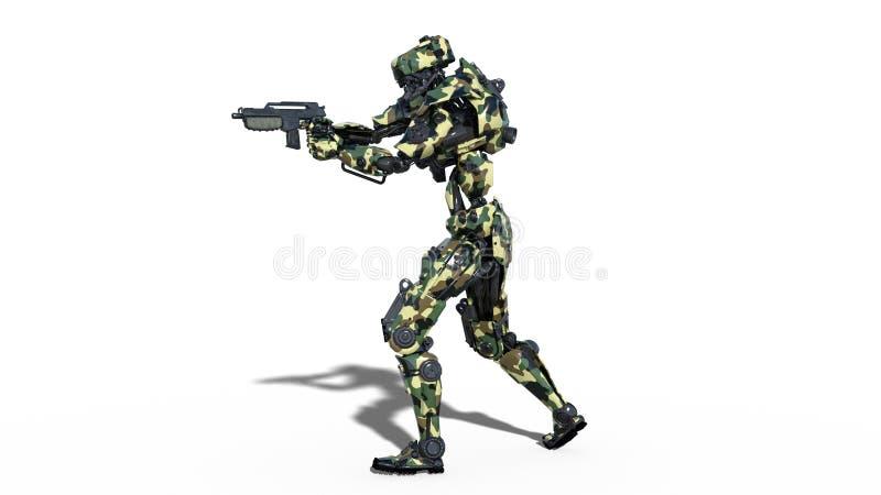De legerrobot, strijdkrachten cyborg, militaire androïde militair die die kanon schieten op witte 3D achtergrond wordt geïsoleerd vector illustratie